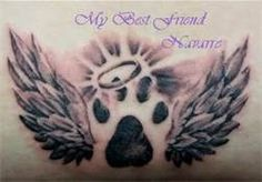 Cat Paw Print Tattoos - on my ankle...may not get the halo, but definitely the paw and wings when my baby goes.