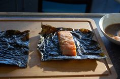 Nori-wrapped salmon   eating from the ground up