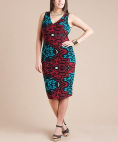 Another great find on #zulily! Turquoise & Red Abstract V-Neck Dress - Plus by Symphony #zulilyfinds