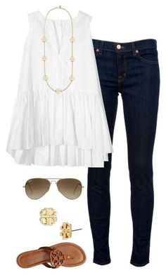"""Tory Burch"" by keswenson liked on Polyvore featuring J Brand, Tory Burch, Pussycat and Ray-Ban"