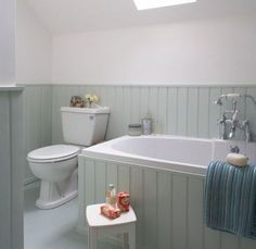 Tongue and groove bathroom. Tongue and groove wall bathroom. White Tongue and groove bathroomview fu Aqua Bathroom, Attic Bathroom, Upstairs Bathrooms, Wood Bathroom, Small Bathroom, Minimal Bathroom, Family Bathroom, Bathroom Hardware, Bathroom Vanities
