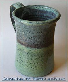 I like the color but don't like the mug shape. Pottery Mug  Stoneware Mug  Coffee Mug by DragonflyArts on Etsy, $22.00