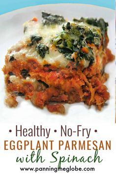 This eggplant parmesan has all the deliciousness of classic eggplant parmesan but it's way healthier. It's made with baked (not fried) eggplant, a delicious homemade tomato sauce, and a generous topping of spinach. #EggplantParmesan #HealthyRecipe #EggplantRecipe Healthy Eggplant, Eggplant Recipes, Healthy Baking, Healthy Recipes, Delicious Recipes, Vegetarian Recipes, Cooking Light, The Help, Fries