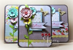 Handmade card by Sankari Wegman using the Joyful Blooms set from Verve.  #vervestamps