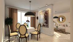 photo mur en briques blanc pour séparation entre cuisine et salon House Design, Ceiling Lights, Living Room, Mirror, Storage, Interior, Furniture, Home Decor, Kitchenettes
