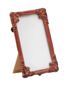 Bulk Wholesale Handmade Red Color Rectangular Photo Frame / Stand in Metal Work with Distressed-Look – Beautiful Carvings on the Edges – Table / Wall Décor – Rustic-Look Home / Office Décor
