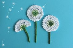 Dandelion flower applique Crochet PATTERN, Bloom collection by TomToy, Easy crochet flower embellishment, Step by step crochet tutorial - DIY FLOWERS Marque-pages Au Crochet, Crochet Puff Flower, Crochet Motifs, Crochet Flower Patterns, Crochet Pillow, Flower Applique, Irish Crochet, Crochet Crafts, Crochet Flowers