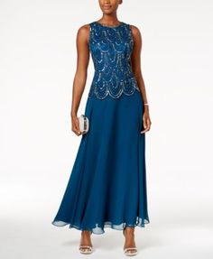 J Kara Embellished Scalloped A-Line Gown - Dresses - Women - Macy's Mother Of Groom Outfits, Mother Of The Bride Gown, Dressy Dresses, Elegant Dresses, Bride Groom Dress, Mom Dress, A Line Gown, Mothers Dresses, Review Dresses