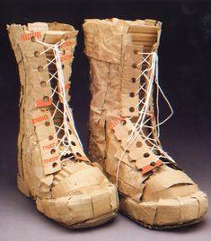ARTTEACHERROOM46: cardboard shoe sculptures...