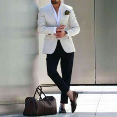 Classy business casual outfit for spring / summer. Featuring blazer, chinos, and a white dress shirt. http://www.99wtf.net/men/mens-fasion/ideas-simple-mens-fashion-2016/