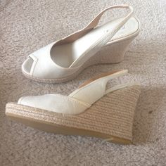 Alfani ivory wedges Worn once, perfect condition! Alfani Shoes Wedges