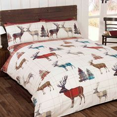 Woodland Stag Double/US Full Christmas Duvet Cover and Pillowcase Set
