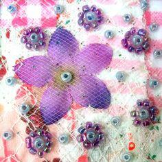 Purple silk flower  Fabric art card  beaded by StitchMikki on Etsy, $5.00