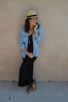 perfectlydisheveled styled the maxi sleeveless black dress with denim shirt~  shop similar style on siizu.com