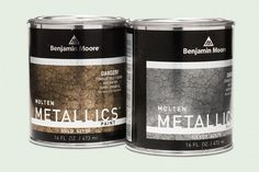 Molten Metallics, by Benjamin Moore - rich metallic paints boast authentic hammered texture. Brush any of the six intense colors onto plaster, wood, or drywall for a textured metal look with a slick, glossy shine. Faux Painting, Painting Tips, Painting Walls, Painting Canvas, Faux Paint Finishes, Metal Finishes, Do It Yourself Furniture, Metallic Paint, Benjamin Moore