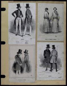 Mode. [XIXe siècle]. 1840 Costume, pantalon, redingote, robe de ...