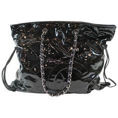 42643e7fb2 Patent Leather Silver Tone Chain Bon Bon Tote Bag