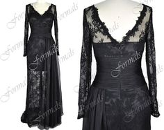 Long Sleeves V Neck Lace and Chiffon Black Evening Gown, Long Evening Dresses, Wedding Party Dresses,  Formal Gown on Etsy, $189.00