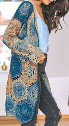 Learn how to make crochet cardigan free pattern crafts – blue and brown yarn | Free Pattern, Graphic, Diagram, Yarn Crochet, Crochet Inspirations