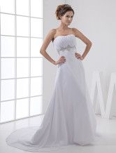 Exquisite White Satin And Chiffon Strapless Empire Waist Wedding Dress