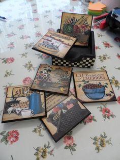 Lady Craft: Ve Sonunda Buradayım Decoupage Box, Decoupage Vintage, Glass Coasters, Wood Coasters, Stencil Wood, Stencils, Tole Painting, Painting On Wood, Arte Country
