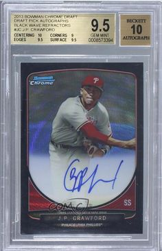 J.P. Crawford BGS GRADED 9.5 #4/50 (Baseball Card) 2013 Bowman Draft Picks & Prospects Chrome Prospect Autographs Black Wave Refractor #BCA-JC -- Awesome products selected by Anna Churchill