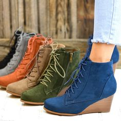 Casual Lace-Up Pure Color Wedges Heels Ankle Shoes - Mixed Shop Lace Up Wedge Boots, Lace Up Wedges, Wedge Heels, Fall Booties, Ankle Shoes, Clearance Shoes, Chunky Heels, Autumn Winter Fashion, Booty