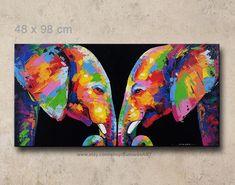Bunten Elefanten-Acryl auf Leinwand-Wand-Dekor des Künstlers Sumaree Nunsang aus Thailand. Das Bild nicht fertig zum Aufhängen, es ist kein Rahmen. Dies ist von Hand bemalt, kein Druck. Die Bilder wurden Kopie aus einem Stück zum anderen, nicht ein original. Leinwand Größe: 48 x 98 cm