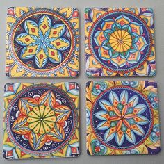 Geometrico Coasterstone Coasters - These sandstone coasters are absorbent enough to soak up all the moisture dripping from your iciest glass, even on the hottest summer days! We designed these coasters ourselves to match our Deruta Geometrico collection, but these sophisticated geometric designs will complement any Italian pottery pattern that you happen to collect. Made from super absorbent sandstone by the CoasterStone (TM) company. Sold exclusively at Italian Pottery Outlet in Santa Barba...