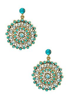 Aqua Crystal Dangle Earrings