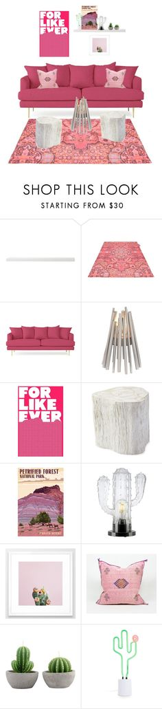 """""""have pink sofa, will travel."""" by tothineownselfbtrue ❤ liked on Polyvore featuring interior, interiors, interior design, home, home decor, interior decorating, Fatboy, Joybird, EcoSmart Fire and Serena & Lily"""