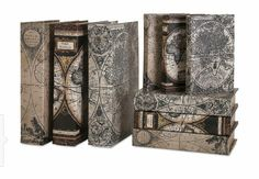 Shop for Imax Corporation Mason Map Book Boxes - Set Of and other Accessories at Babettes Furniture in Leesburg, FL. A map of the world: Leather-look antique maps cover a set of nine, complementary book boxes. Decorative Objects, Decorative Accessories, Decorative Boxes, Book Storage, Storage Baskets, World Atlas Map, Precious Book, Antique Maps, Graphic Patterns