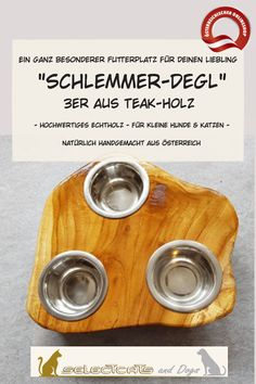 """""""Schlemmer-Degl"""" aus Teak-Holz - Selectcats and Dogs Petshop Dog Bowls, Dogs, Cats, Pet Dogs, Wood Slab, Pets, Handmade, Doggies"""