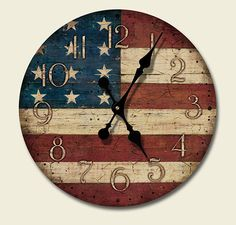 Round Wooden Wall Clock American Flag Kitchen Decor Old Glory . I have the clock now I just need to paint it! Americana Kitchen, Americana Crafts, Patriotic Crafts, July Crafts, Western Decor, Country Decor, Western Style, Rustic Americana Decor, Primitive Decor