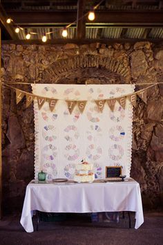 Cake Table with Vintage Quilt Backdrop