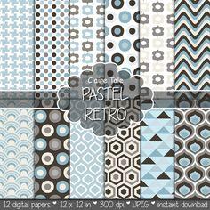 Geometric digital paper, retro paper, retro geometric patterns, classic retro paper, pastel retro triangles, honeycomb, circles, houndstooth
