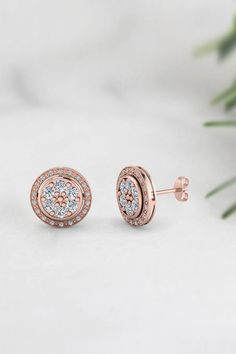 Classic Milgrain Stud Halo Earrings for Women with Diamonds in 14K Rose Gold exclusively styled by Fascinating Diamonds