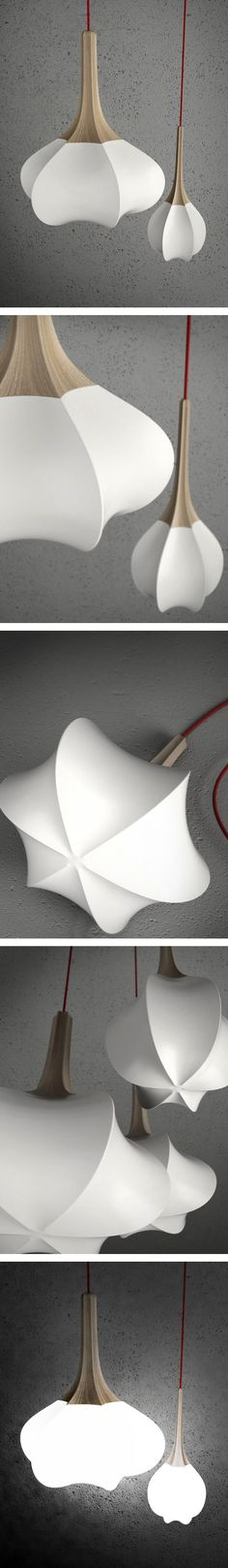 The swell lamp gives ideas of a shaped handbag to be created for an evening out to a 'white party'.