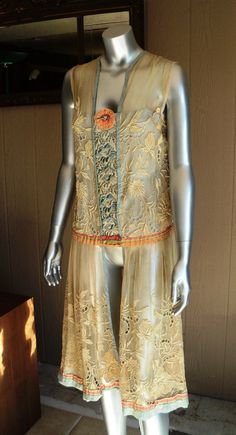 1920s Tambour Lace Dress Wearable Original with 1920s Ribbonwork Silk Ribbon Embroidered Bodice