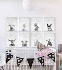 Ocho bebés estampados de Animal bosque vivero arte cuarto de