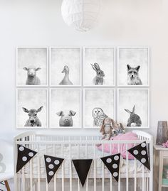 Eight Baby Animal Prints Woodland Nursery Art by CocoAndJames