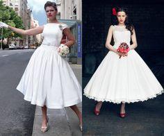 robes années 50: robes de mariée vintage évasées midi