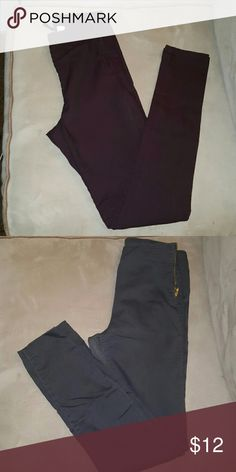 2 pairs of pants H&M high rise - stretch -- side zip - skinny jeans. 1 Charcoal grey and 1 burgundy. H&M Pants Skinny