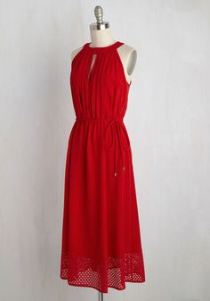 Relish the glamorous glow of the limelight every time you slip into this red dress. Gorgeously enhanced with a keyhole neckline and a prettily perforated trim at the hem, you'll pause on any carpet in this midi and let the paparazzi acclaim your stylish status!
