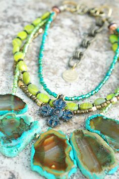 Exotic Emerald: Exotic Emerald Agate, Chartreuse Glass & Bronze Cross Fringe Necklace