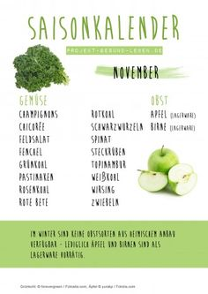 Saisonkalender 11 November Projekt Gesund leben