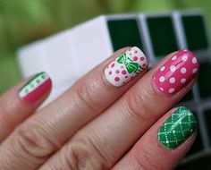 green and pink...too much for me, but I love the colors