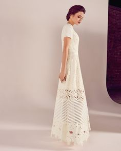 Ted Baker Guipure lace sheer panel wedding dress Ivory