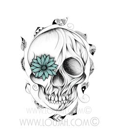 Illustration by LouJah Poetic Wooden Skull© #art #illustration #draw #drawing #doodle #stretch #boho #bohostyle #bohemian #gypsy #gypsies #hippy #hippies #bohoskull #skull #flower #feather #feathers #dead #tattoo #ideatattoos #tattoos #tatouage #wood #wooden