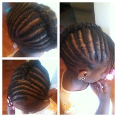 Cornrow updo for little girl. Natural hair Protective style. One of my original creations!